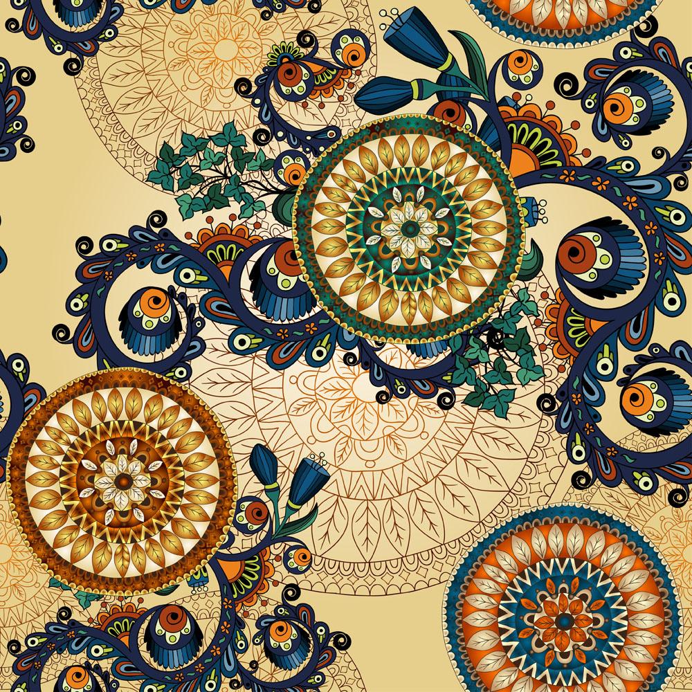传统曼陀罗花纹图案矢量素材下载-底纹背景-底纹边框