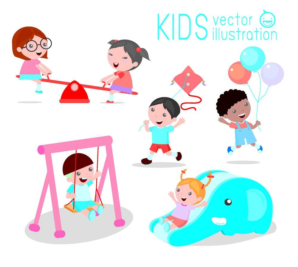 玩耍的卡通儿童图片图片