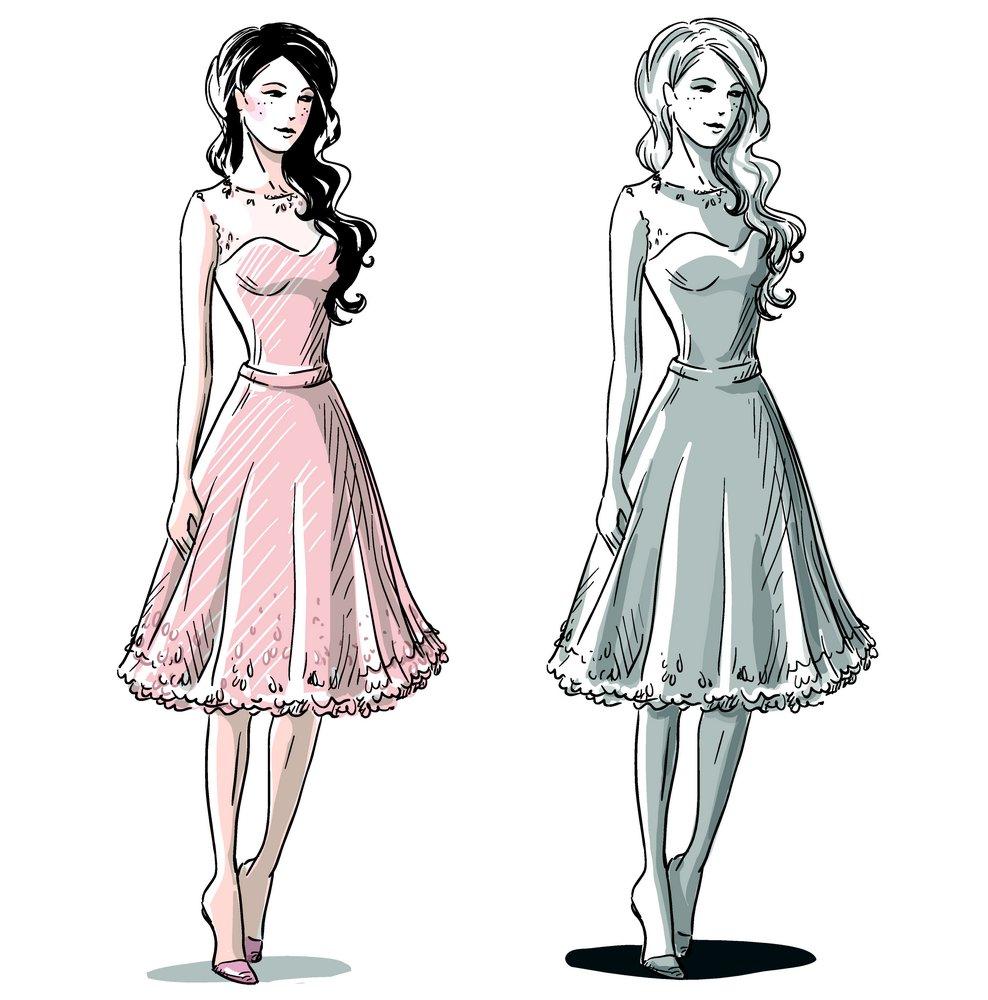 集图网 矢量素材 矢量人物 女性女人 卡通美女插画,连衣裙,矢量女人图片