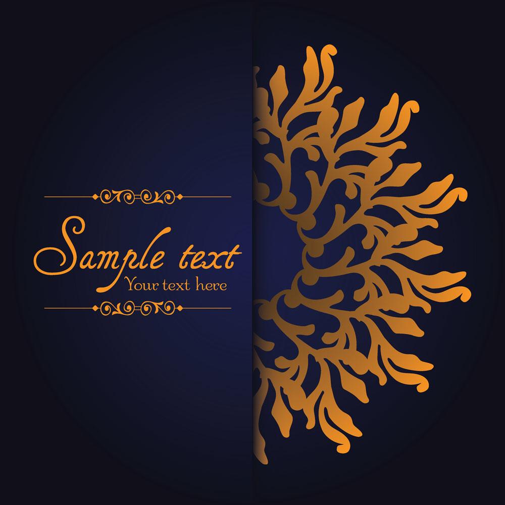金色复古花纹矢量素材下载-花纹花边-底纹边框-矢量