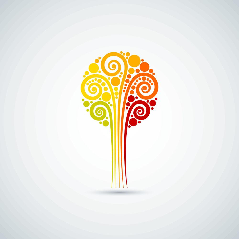 秋天卷纹树标志图片