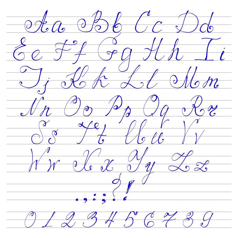 书画文字 手写体英文字母字体模板下载,彩色英文字体样式,26个英文