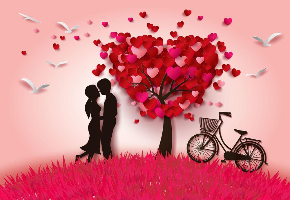 红色爱心情人节剪纸贴画图片