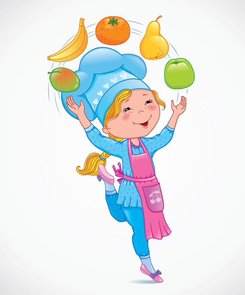 矢量素材 矢量人物 儿童幼儿 卡通厨师,卡通水果,卡通女孩,儿童厨师图片
