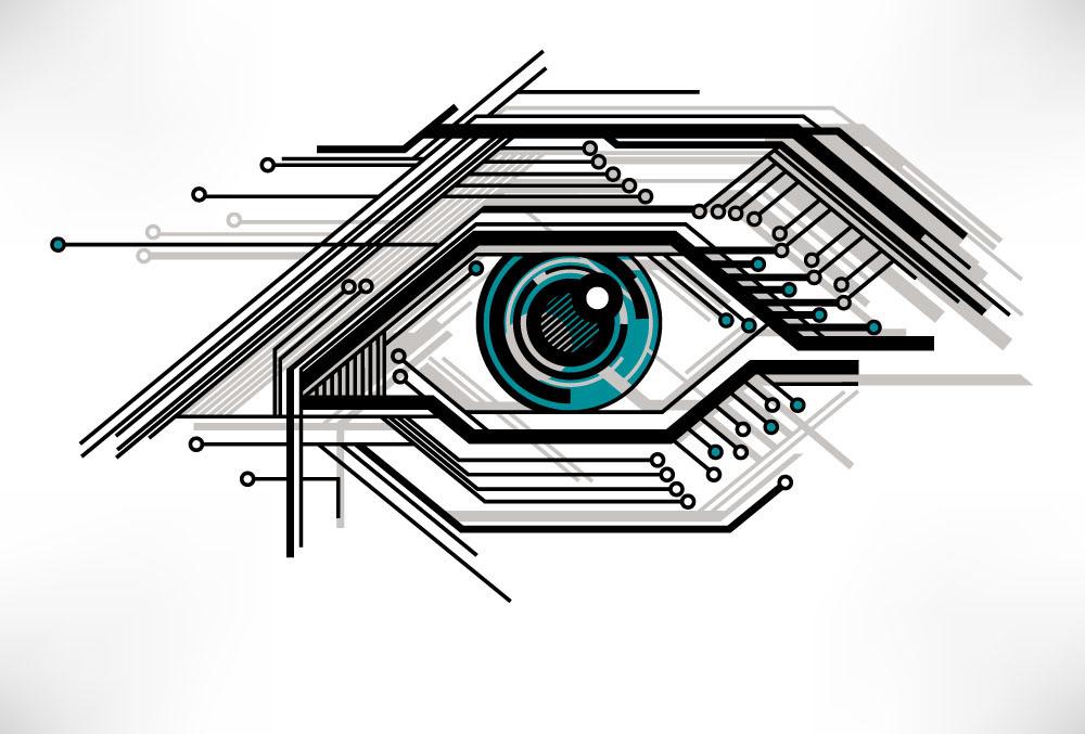 创意抽象电路眼睛图片下载,卡通眼睛,眼珠,眼球,电路,科技眼睛,创意图片