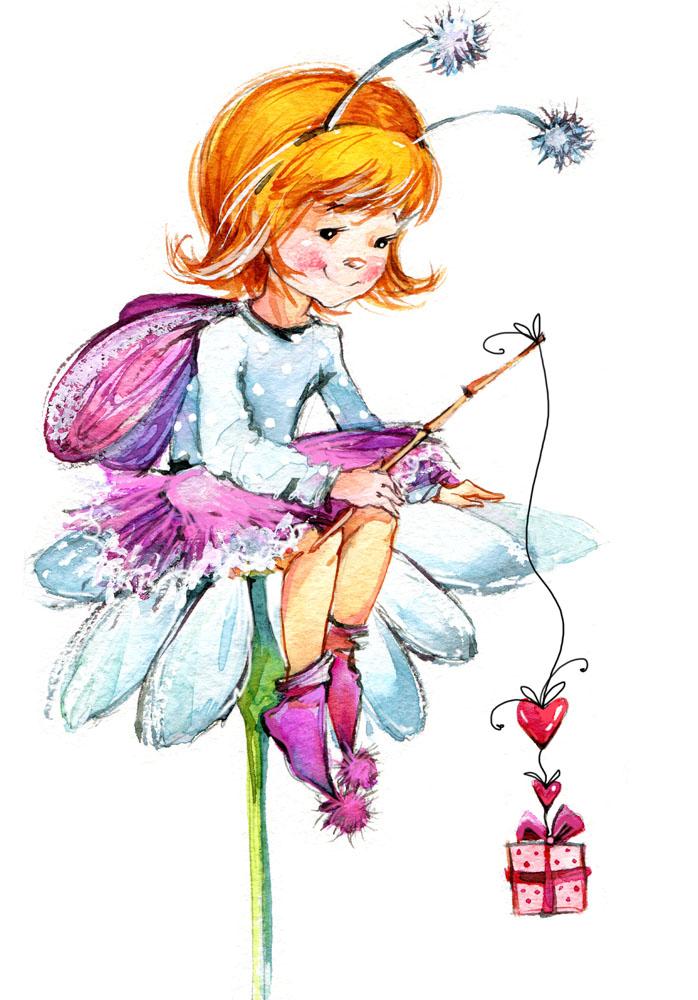 吊着礼物的可爱女孩漫画