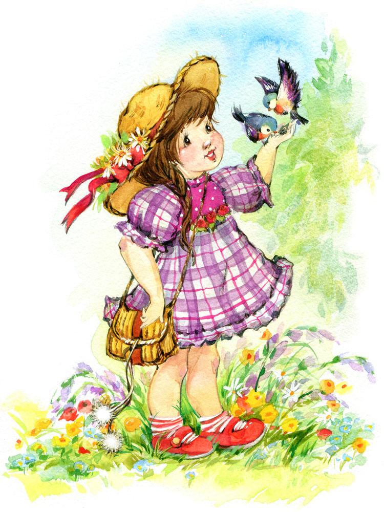 可爱的水彩女孩漫画 图片素材下载-儿童幼儿-人物