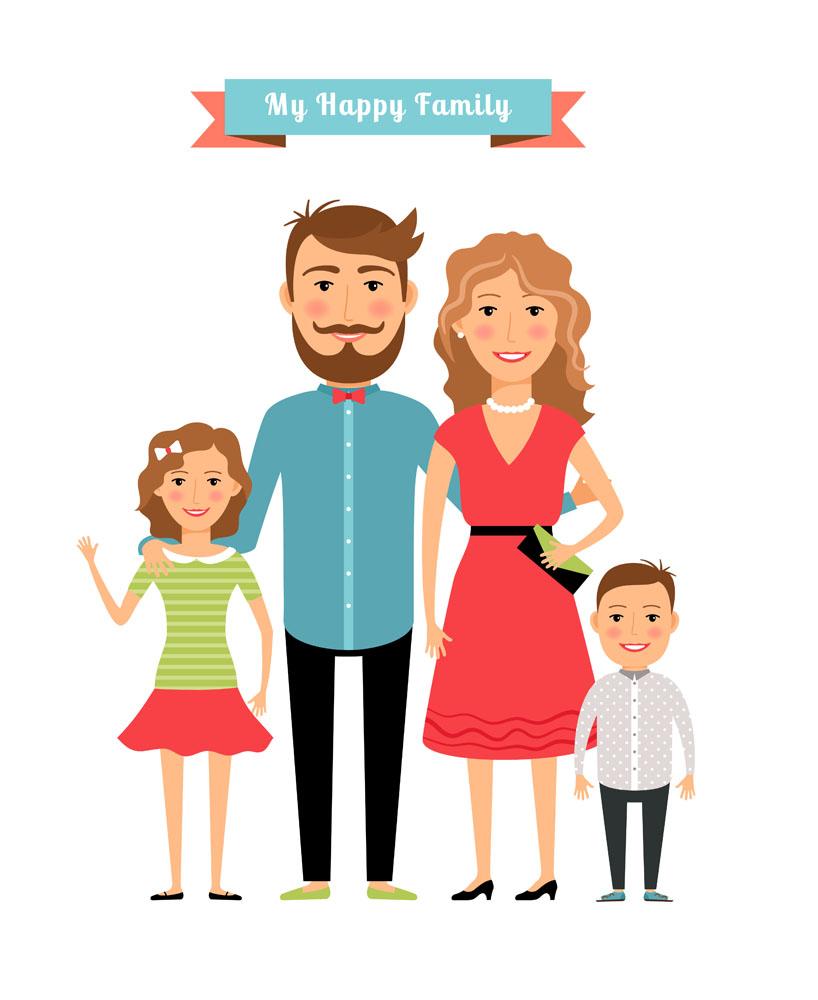 集图网 矢量素材 矢量人物 其他人物 夫妻,夫妇,全家福,卡通男孩,卡通图片