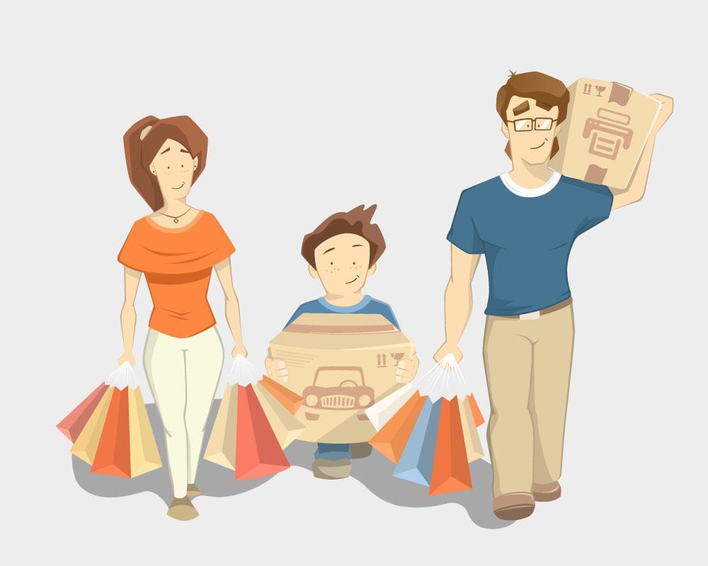 集图网 矢量素材 矢量人物 其他人物 购物,夫妻,夫妇,全家福,卡通男孩图片