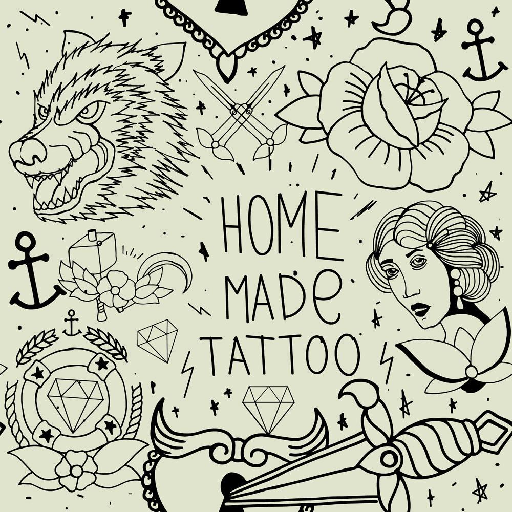 狼图案,女人,花朵,鲜花,匕首,字母,钻石,翅膀,时尚纹身,纹身图案,创意