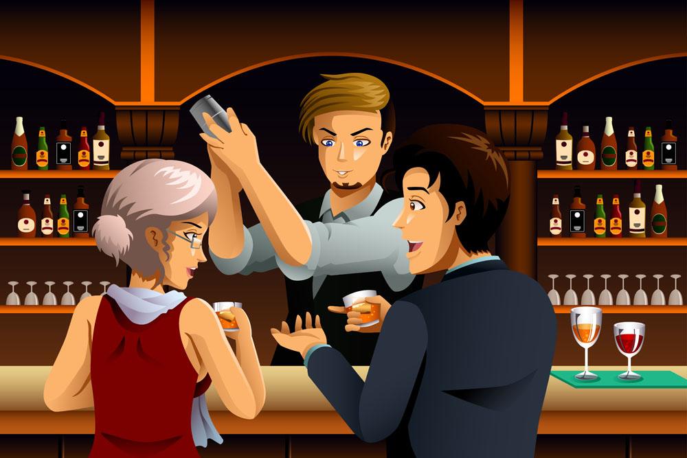 酒吧喝酒的卡通人物图片