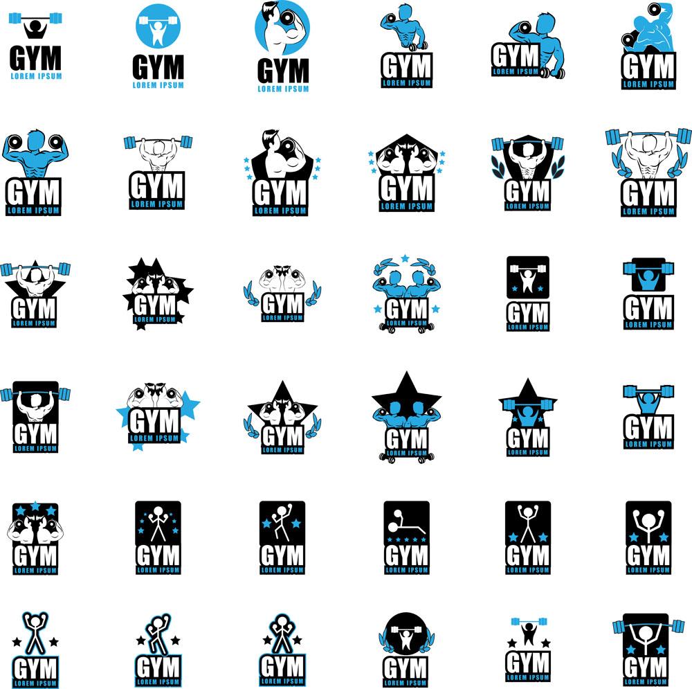 健美运动标志矢量素材下载-体育运动-生活百科-矢量图片