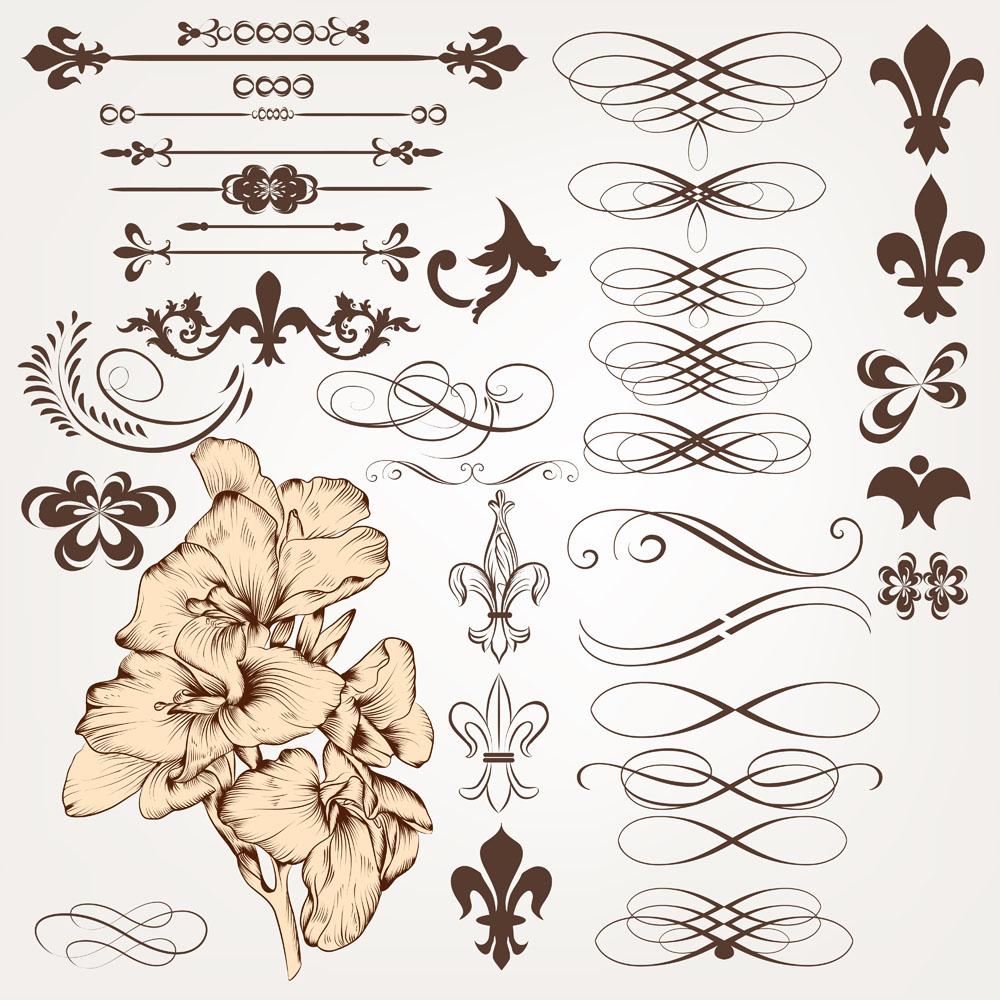 传统装饰边框与植物矢量素材下载-流行元素-底纹边框