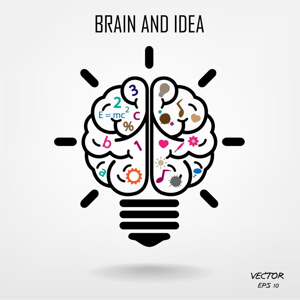 创意电灯泡大脑图片图片