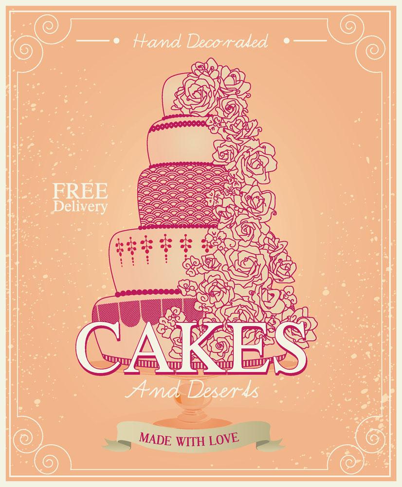 卡通蛋糕花纹海报矢量素材下载-餐饮美食-生活百科