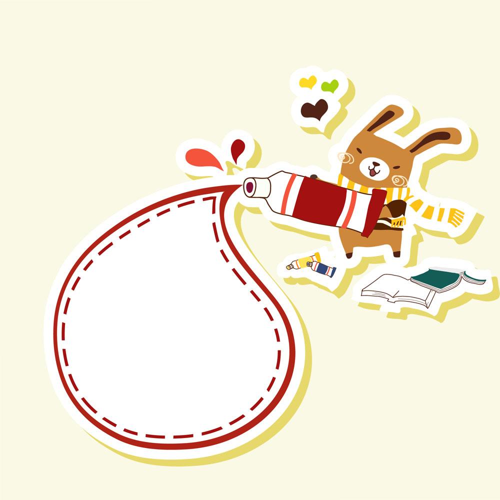 画画的卡通兔子矢量素材下载-卡通形象-矢量人物
