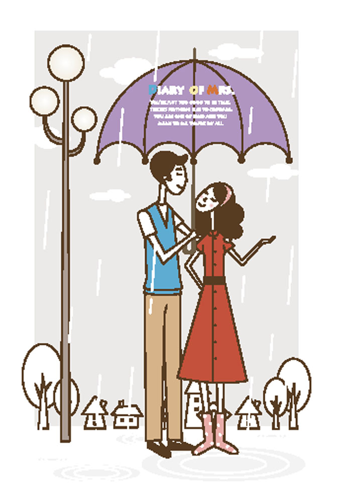 玉兰灯,下雨,幸福家庭,夫妻,情侣,帅哥美女,男人女人,手绘,插画,卡通图片