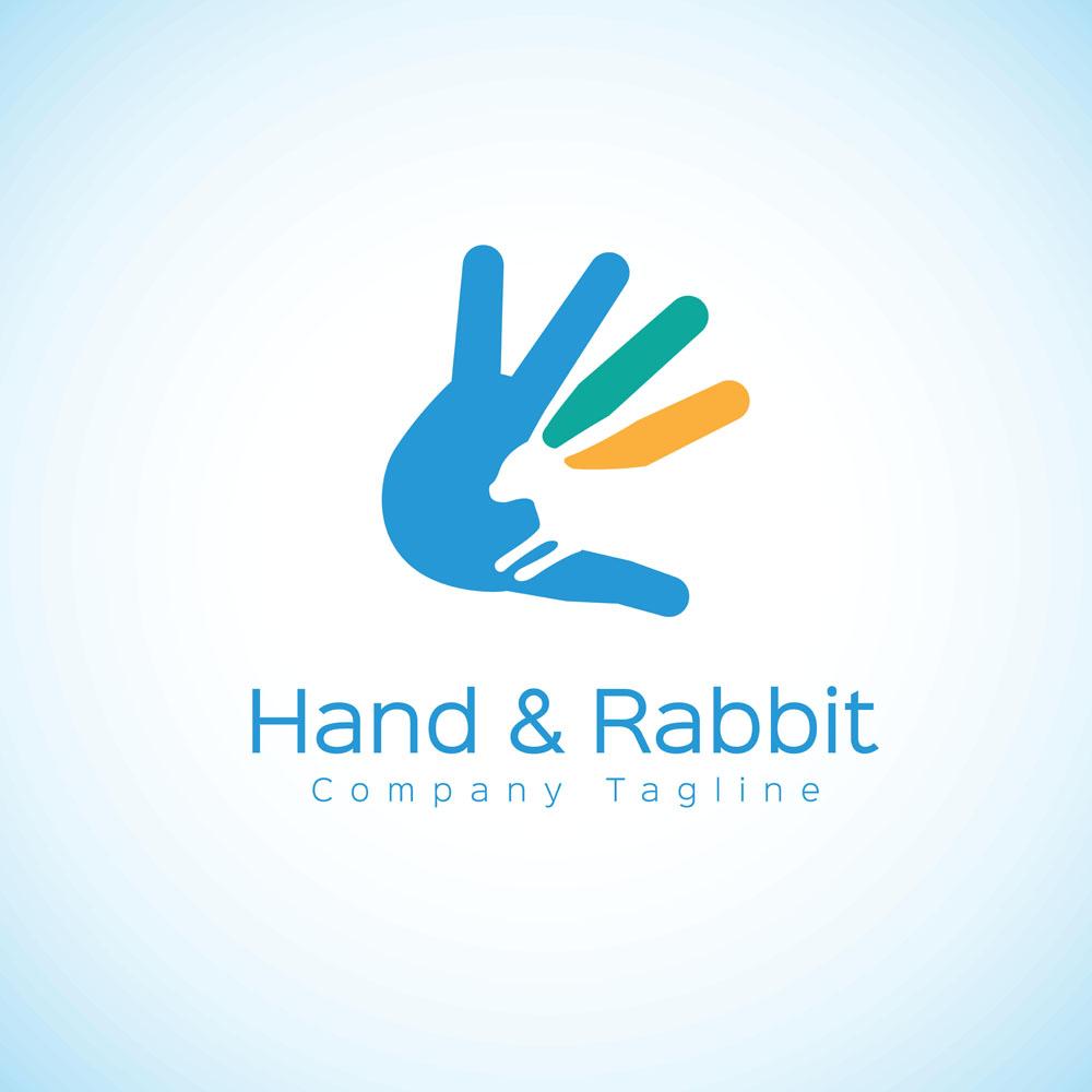 手掌与兔子logo设计图片