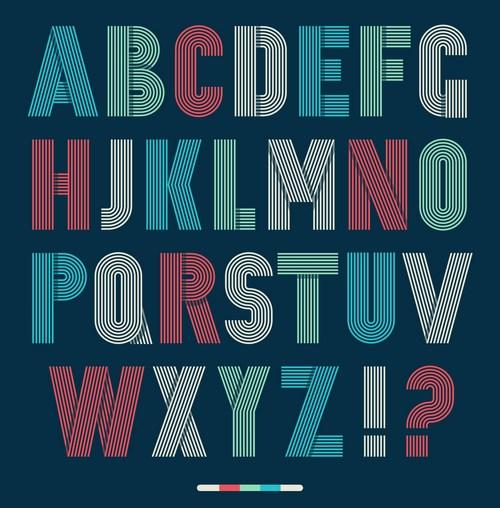 矢量素材 文化艺术 书画文字 彩色线条字母字体,创意英文字母,26个