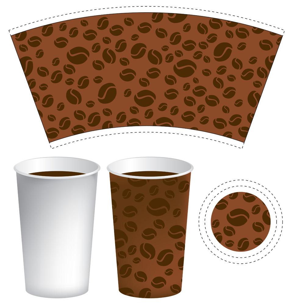 集图网 矢量素材 包装设计 创意咖啡纸杯展开平面图    收藏 关键词图片