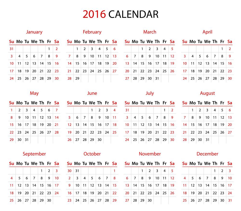 简约2016年日历表矢量素材下载-日历台历-广告设计图片