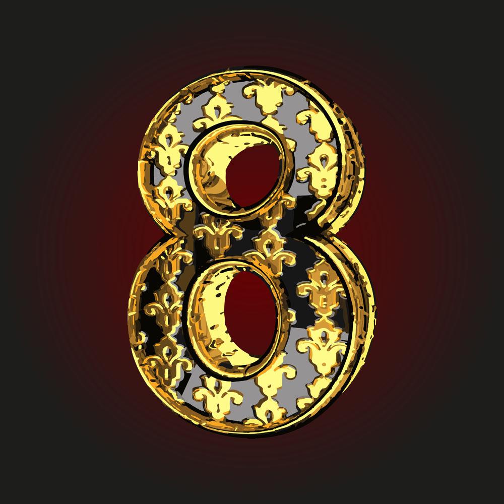 金色花纹数字8矢量素材下载(图片ID:568772)_-书画文字-矢量素材_ 集图网 JITUWANG.COM
