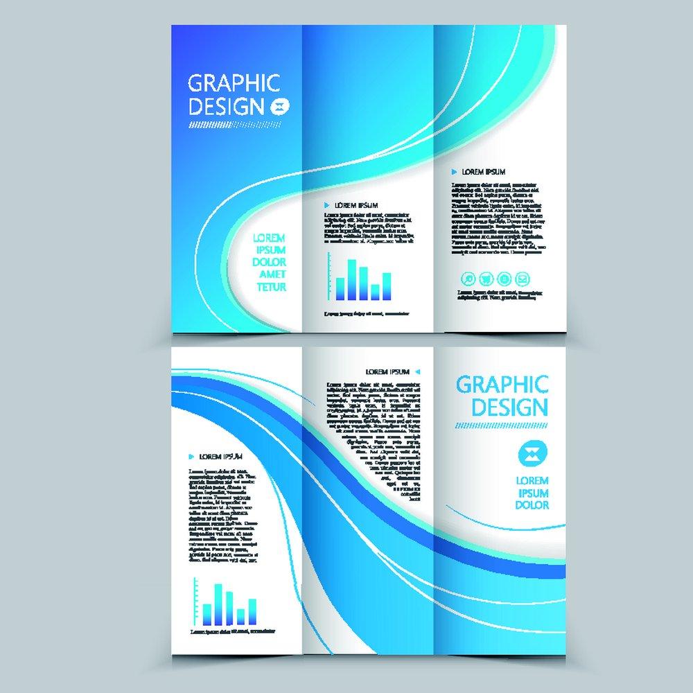 蓝色矢量三折页设计折页素材下载-传单|梦幻-广建筑个人简历设计图片素材图片