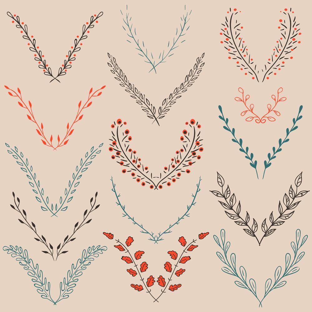 手绘植物装饰花纹矢量素材下载-流行元素-底纹边框