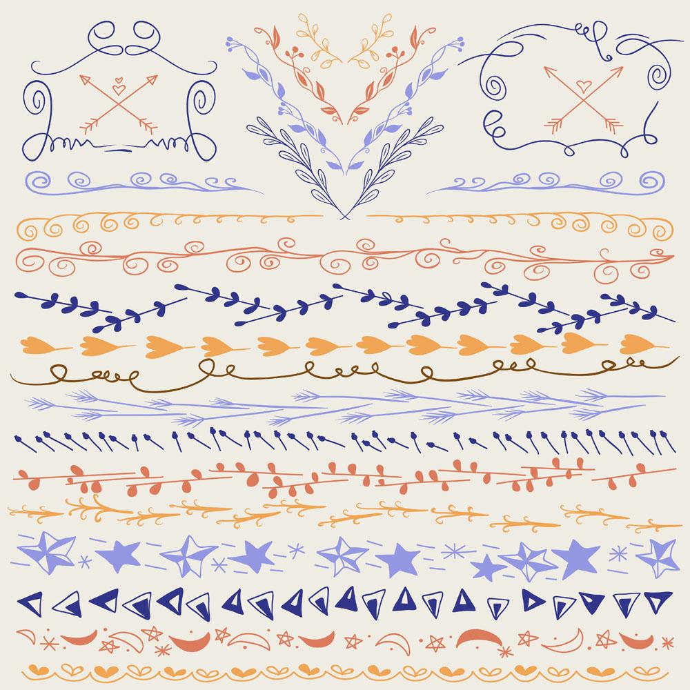 流行元素 线条花纹,爱心,五角星,星星,月亮,树叶花纹,树枝,边框,花边图片