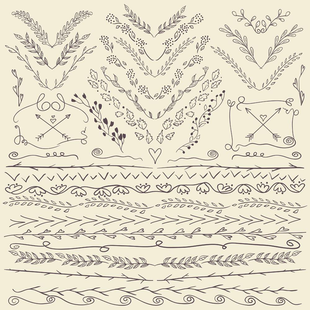 手绘树叶边框装饰花纹图片