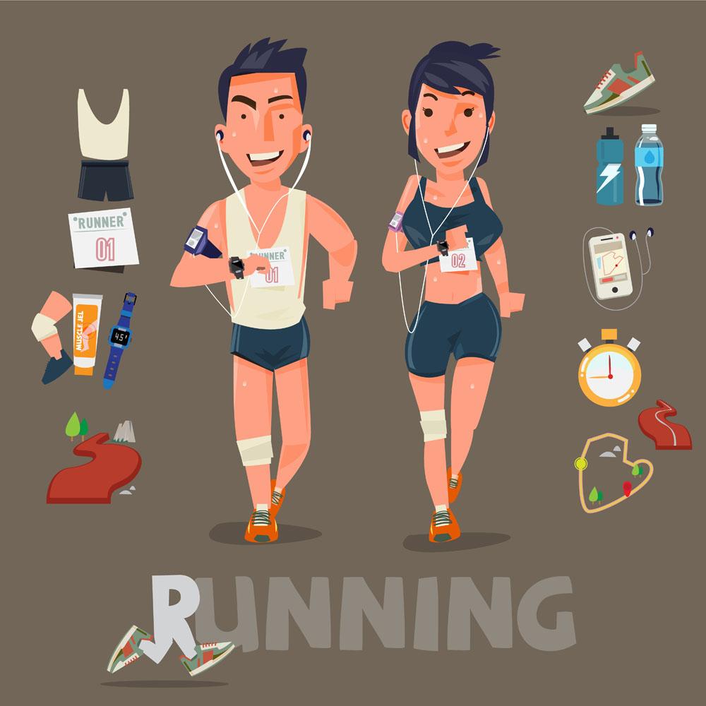 健身,体育运动员,跑步的卡通男女,运动员,卡通形象,矢量人物,矢量素材图片