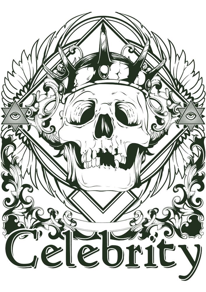 骷髅欧式花纹t恤印花图片图片