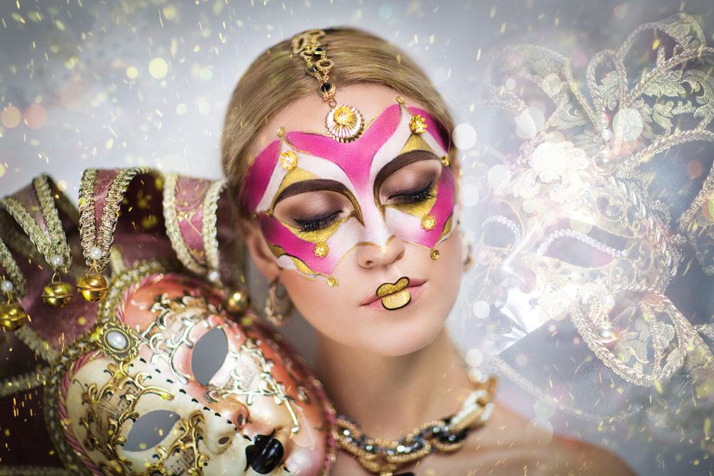 花纹面具彩妆美女 图片素材下载-女性女人-人物图库图片