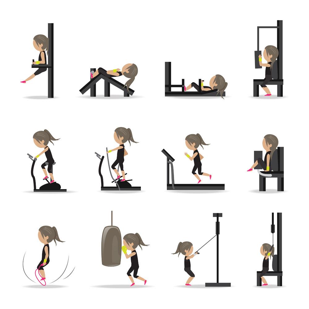 室内运动扁平化风格图片图片