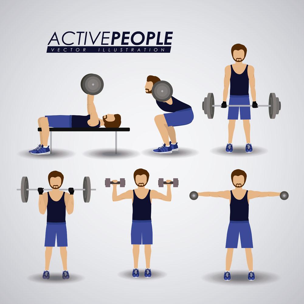健身的卡通人物矢量素材下载-体育运动-生活百科-矢量素材 - 集图网