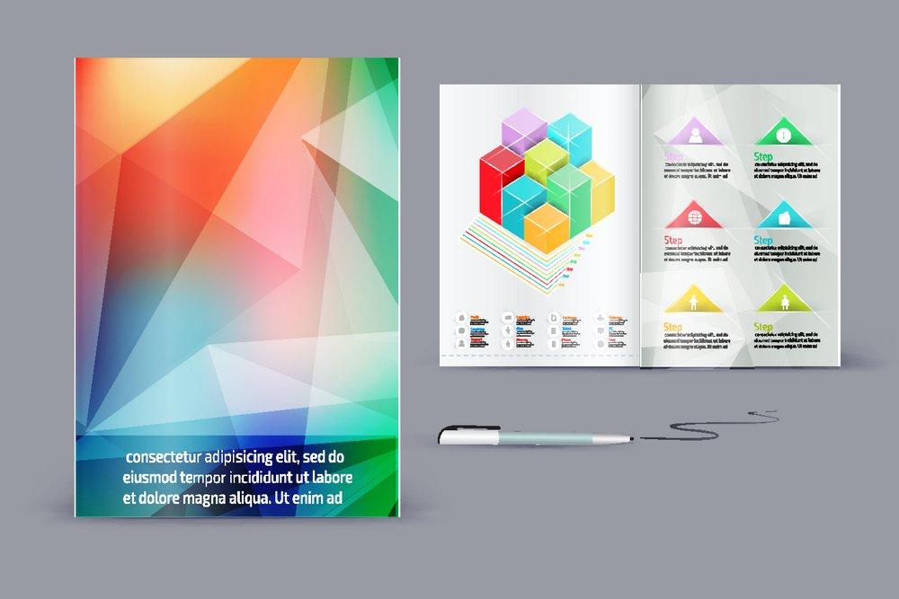 炫彩三角形背景画册设计图片