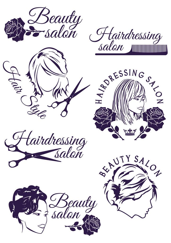 两美女剪发_标清_美女理发店标志
