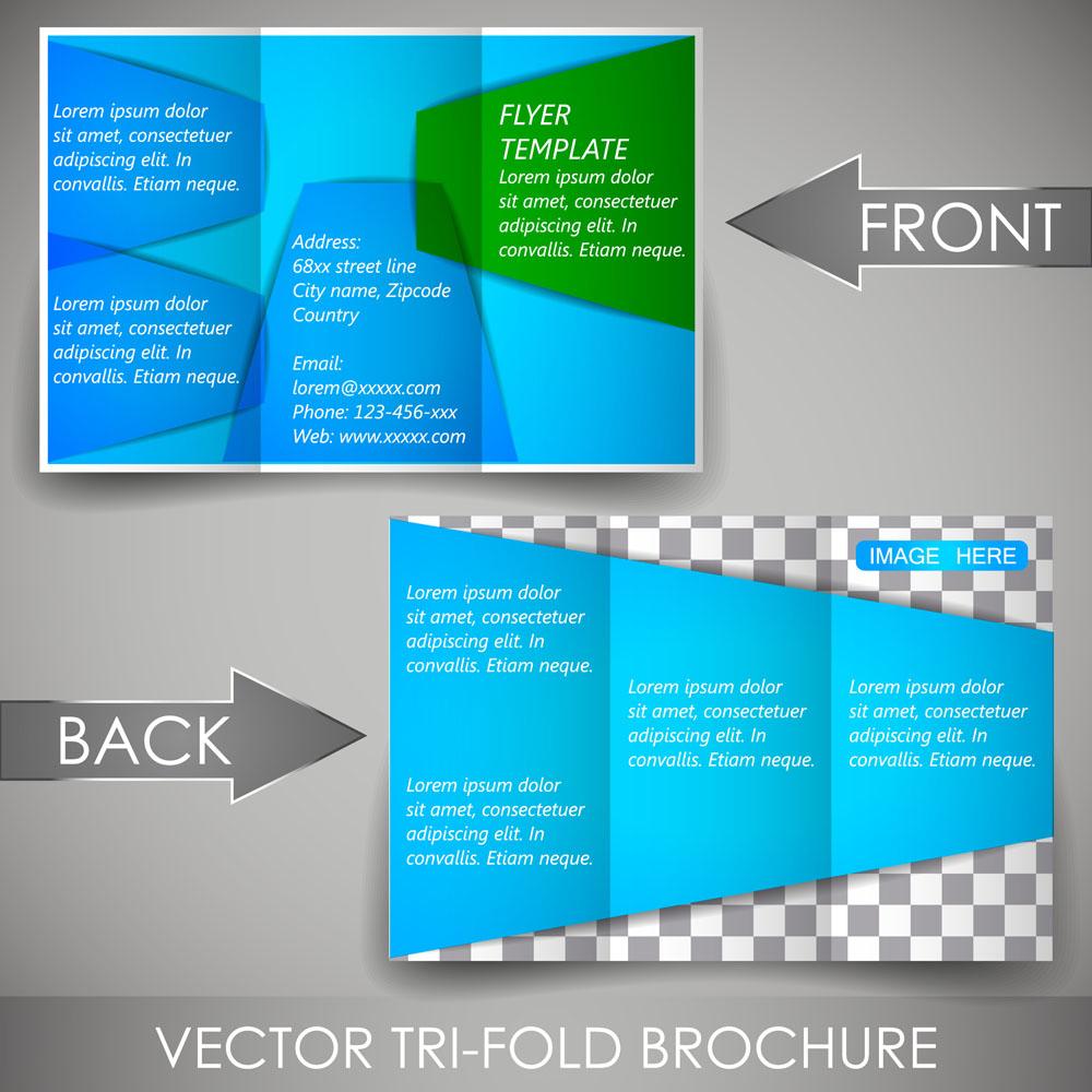 软件传单三蓝色v软件折页素材下载-折页|时尚-广网页设计的矢量的图片素材图片