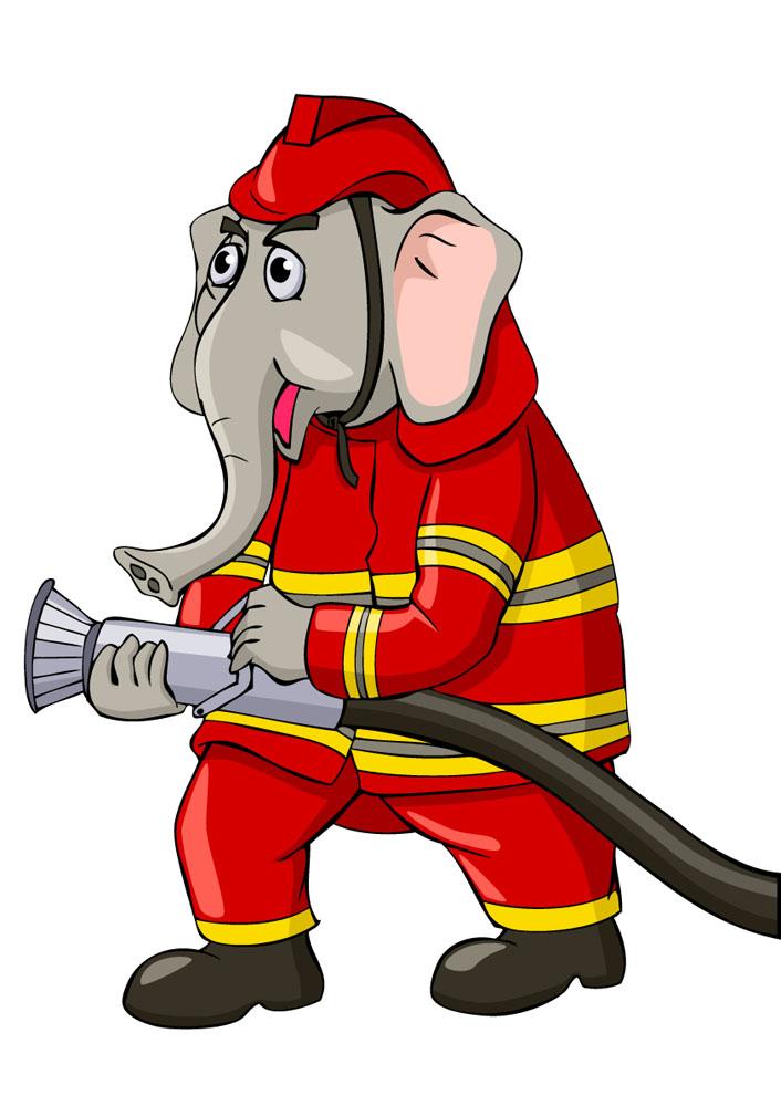 动物消防员卡通图片_动物消防员图片