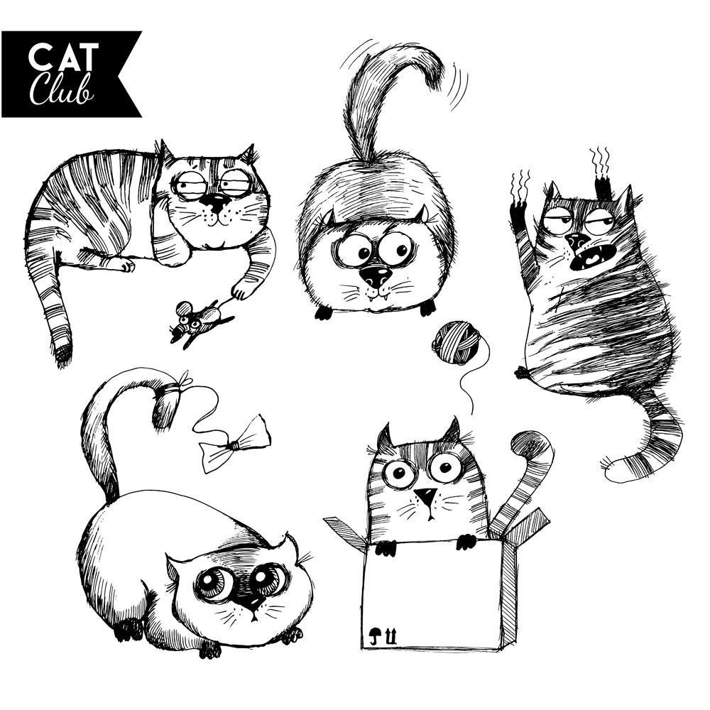 卡通猫咪素描插画矢量素材下载-陆地动物-生物世界