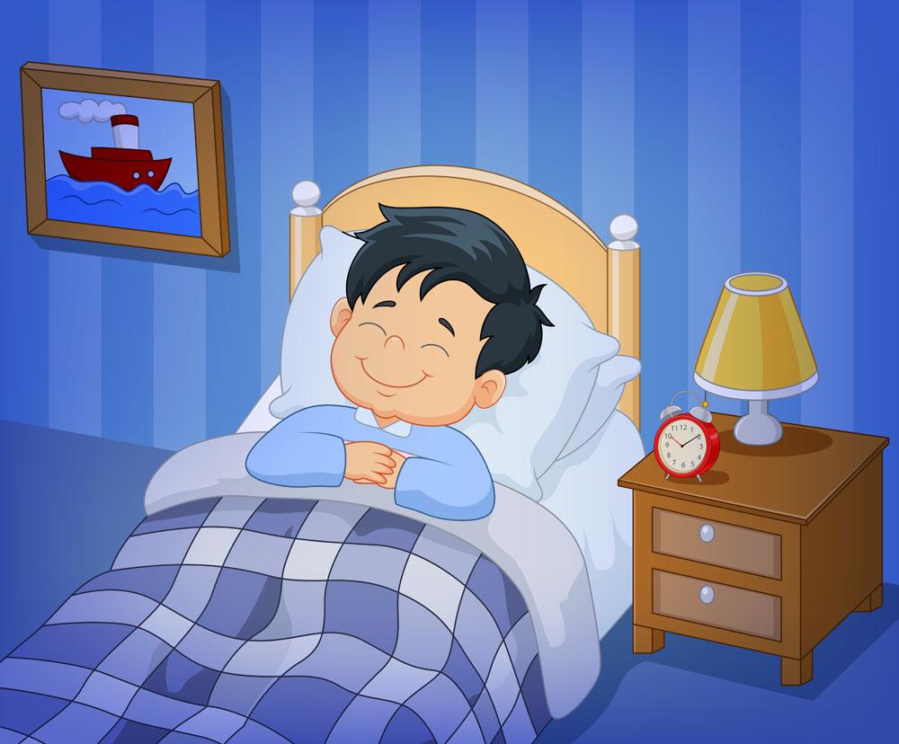 蓝色房间里睡觉的男孩卡通插画矢量素材