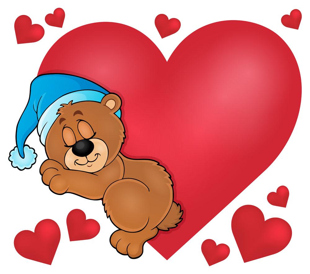 红色桃心与睡觉的卡通熊图片图片